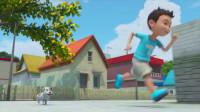 咖宝车神:小咖和小狗一起玩赛跑的游戏,他们非常的开心