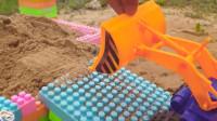 03卡车运输工作表演儿童跑车挖掘机益智玩具故事早教!