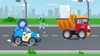 警车和一辆载满糖果的卡车发生有趣的故事