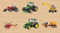 学习认识叉车拖拉机挖掘机 直升机自卸卡车等工程车