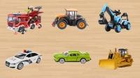 学习认识消防车拖拉机挖掘机 警车轿车推土机等工程车