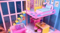 亲子手工diy制作漂亮的两层粉色小房子