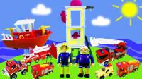 救援船救援车玩具拆箱