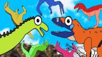 恐龙在森林里奔跑