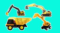 工程车游戏闯关动画合集04 挖掘机平地施工 与小卡车合力运大石