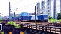 广铁龙段HXD1C-0581牵引短编组集装箱货车8722通过广深线车陂涌