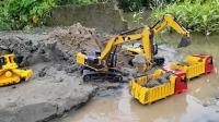 挖掘机和运输车模拟施工