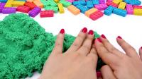 太空沙来做各种小脚丫的,启蒙学颜色,玩具