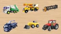 学习认识垃圾车吊车运输车 道路救援车铲车拖拉机等工程车