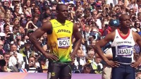 伦敦奥运会男子100米预赛博尔特闲庭信步