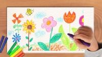 儿童启蒙绘画,花园里漂亮的花朵
