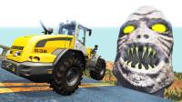 """汽车飞跃""""尖牙怪""""会怎样?3D动画模拟,全程不要太刺激!"""