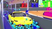 乐享知识乐园的黄色跑车通过充满小球的通道