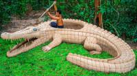 高手在民间!小哥建鳄鱼泳池饲养五只鳄鱼,操作太秀了!