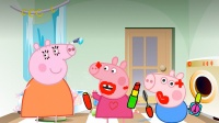 猪妈妈的口红不见了,佩奇乔治花了满脸口红,还说没看见