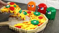 老外超会玩,用积木做成大披萨,成品太诱人了!