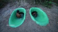野外求生技巧!大神在地下建造神秘的隧道游泳池