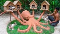 牛人为拯救小猫,徒手打造章鱼型猫屋,简直太有才了!