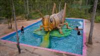 泳池上出现个大蚂蚱,凑近一瞧,原来别有洞天!