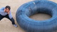 巨型轮胎爆胎威力有多大?小伙作死尝试