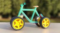 牛人技艺高超,用塑料吸管打造自行车,启动瞬间太酷了!