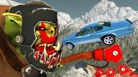 """高速汽车碰上""""兽人""""会怎样?3D动画模拟,一口一辆太刺激!"""