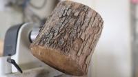 用粗壮的木头制作一个花瓶,看看如何实现的