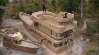 野外生存技巧!在野外建造三层战舰别墅和游泳池