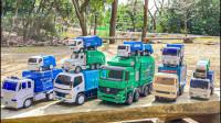 11辆垃圾车怎么大集合?可是谁翻车了?认识玩具车益智早教游戏