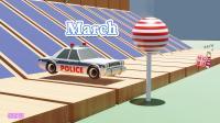 警车把球推下木桥变成棒棒糖,宝宝英语启蒙