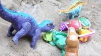 恐龙寻找水果蔬菜玩具,蜘蛛侠拯救霸王龙故事