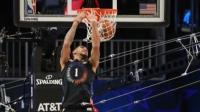NBA:2021扣篮大赛第一轮:托平击地胯下双手背扣