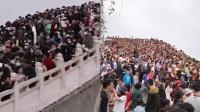 直击清明假期!上万游客挤满清明上河园石桥 游客:都没处下脚