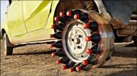 汽车轮上安装20瓶可乐,一脚油门踩下去,太刺激了!