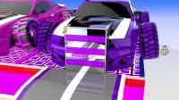 彩色汽车游戏:紫色的赛车里出现了小车!
