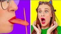 """学校恶作剧:女同学用牙签戳穿""""舌头"""",同桌失声尖叫!"""