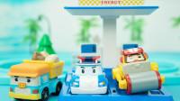 变形警车珀利轨道玩具 珀利警长的智能电动充电站