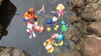 解救掉在水里的小猪佩奇一家和汪汪队成员