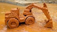 5辆超大的挖掘机、挖土车怎么会在山洞里呢?工程车玩具