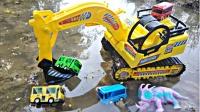 11辆挖掘机一起寻找工程车玩具,搅拌车、翻斗车、铲车在哪呢?