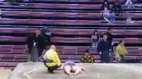 悲惨瞬间!日本相扑开场10秒选手被撂倒头猛砸地面身亡