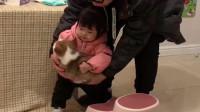 女儿终于有狗子了,抱着狗狗就像抱洋娃娃,太喜欢了