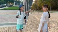 李小璐晒母女玩滑板照 甜馨T恤配脏辫变酷girl