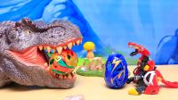 【玩具故事】咖宝蛋神始祖鸟艾奇轰救援行动,咖宝蛋神变恐龙蛋,艾奇轰跑进大恐龙嘴里