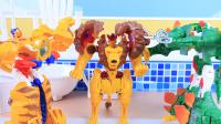 【玩具故事】天气太热了,咖宝车神狮王凯恩打开冰箱凉快,剑龙提戈帮忙理发