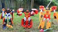 【玩具故事】咖宝车神消防车灭火悍将在土里种糖果,魔法校巴种薯片跳跃先知种飞机玩具
