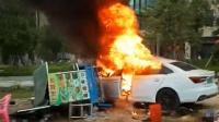 轿车撞入路边摊起火燃烧 致6死13伤