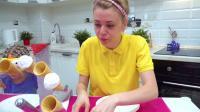 艾娃和妈妈一起玩儿挑战 冰淇淋食物大混合