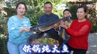 """村里鱼塘清鱼,食叔做""""铁锅炖鱼"""",酱香入味,老婆吃过瘾了"""