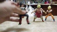 (宅男上传)龙珠掌动第二弹三人组孙悟空,布罗利,巴达克可动食玩人偶掌动人偶